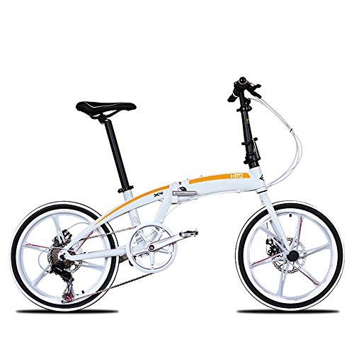 LIUJIE Folding Für 20-Zoll-Leichtmetall Ultra-leichte Notebook Aluminium Fahrradfederung Mountainbike, Titan, 6Spoke WheelsSuspension Fahrrad Herren und Damen Fahrrad,Weiß