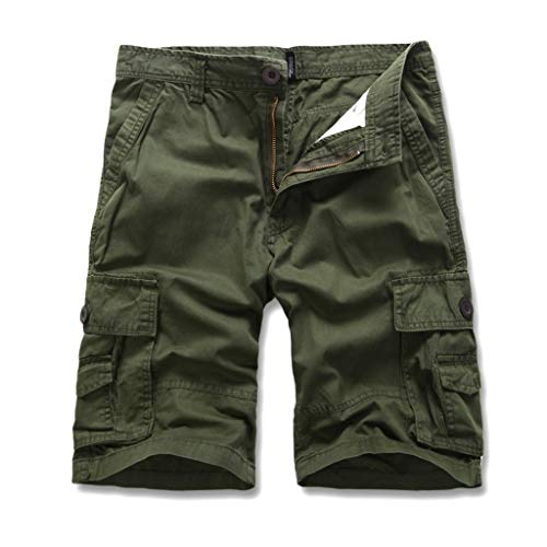 Cargo Hose Männer Kurz Shorts GreatestPAK Herren Einfarbig Cargo-Shorts Knopf Pocket Arbeitshorts Mode,Hellgrün,EU:S(Tag:28)