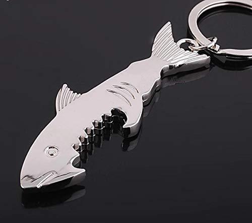 Sportigo ® Hai Schlüsselanhänger mit Flaschenöffner in der Farbe Silber/Geschenk