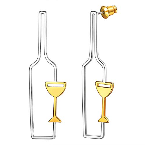 FOCALOOK Damen Hohle Weinflasche und Weinglas Design Ohrringe Gold überzogen Geometrische Ohrringe Ohrstecker Damen Mädchen Statement Ohrschmuck tolle Geschenkidee