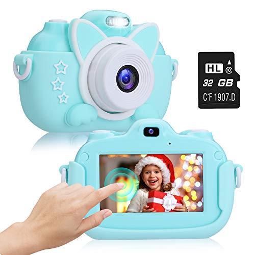 """2NLF Cámara para Niños 1080P 3.0"""" IPS HD Pantalla Táctil Cámara de Fotos Digital para Niños con Tarjeta de Memoria Micro TF 32GB Custodia Protettiva Cámara Infantil Regalos 3 a 12 Años -Azul"""