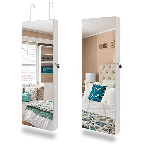 """Bonnlo 48"""" x 15"""" All Screen Jewelry Armoire CabinetFull Length Mirror Display Beauty Organizer Dressing MakeupLockable wFree Safe KeyWall Mounted or Door Hanging White"""