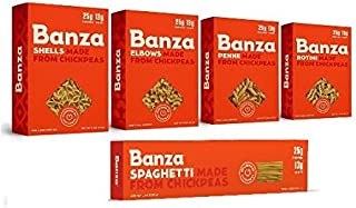 Banza Chickpea Pasta, Variety 5 Pack, Shells/Elbows/Penne/Rotini/Spaghetti 8 oz (Pack of 5)