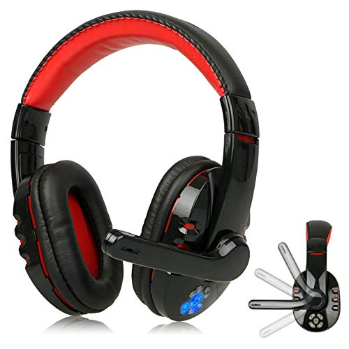 R Star Wireless Gaming Headset Bluetooth Headset for Mobile Phone/Laptop (Not Included Adapter) Over Ear Headphones Stereo Noise Cancelling with Mic, Bass Surround