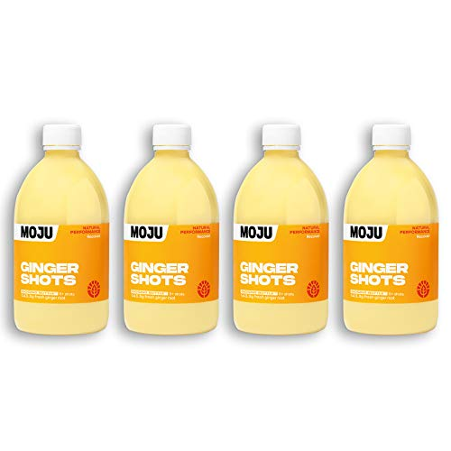 MOJU Ginger Dosing Bottles (4x500ml) | 17.2g of Fresh Pressed Ginger Root in Every Shot | Your Plant Powered Morning Wake Up/Afternoon Lift | Whole Ingredients, Nothing Artificial | 8+Shots per Bottle