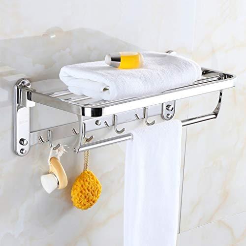 ZWJ Rotaie handdoekhouder met haken voor de badkamer van roestvrij staal 40-60 cm met handdoekstang Multipla, inklapbaar aan wand dubbel-II