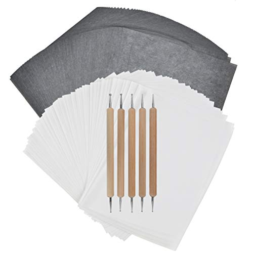 DODUOS 100 Blatt A4 Carbon Transferpapier 100 Blatt A4 Pauspapier und 5 Stück Prägestiften Carbon Kohlepapier zum Zeichnen, Skizzieren, Segeltuch, Holz