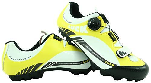 LUCK Zapatillas de Ciclismo Pro 0.17 MTB, con Suela de Carbono de 4mm y Cierre rotativo de Alta precisión para una sujeción (37 EU, Amarillo)