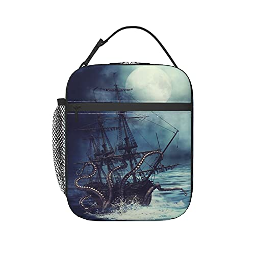 Bolsa de almuerzo térmica térmica con diseño de escena nocturna con barco pirata y pulpo con correa para el hombro, para niños, niñas, mujeres y hombres