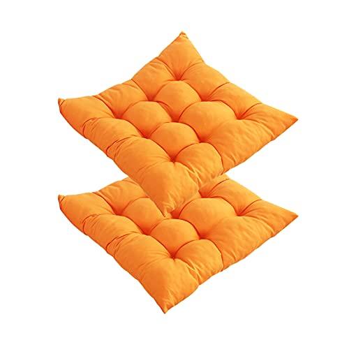 Set di 2 cuscini per sedia con nastri, 40 x 40 cm, quadrati, antiscivolo, comodi e lavabili, per interni, esterni, casa, cucina, sedie, auto, divano (arancione, 2 pezzi da 16' x 16')
