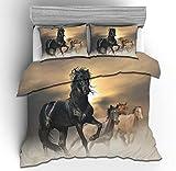 NEWAT Juego de funda de edredón con diseño de caballo de guerra en 3D, funda de almohada y funda de edredón para los amantes de los animales (A10,220 x 240 cm)
