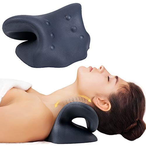 Neck Stretcher for Neck Pain Relief, Neck and Shoulder Relaxer Cervical Traction Device with Massage Point for Muscle Relax and TMJ Pain Relief, Cervical Spine Alignment Chiropractic Pillow
