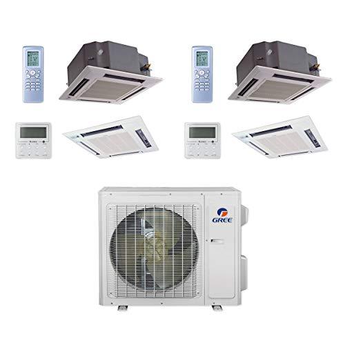 GREE MULTI24CCAS205-24,000 BTU Multi21+ Dual-Zone Ceiling Cassette Mini Split Air Conditioner Heat Pump 208-230V (18-18)