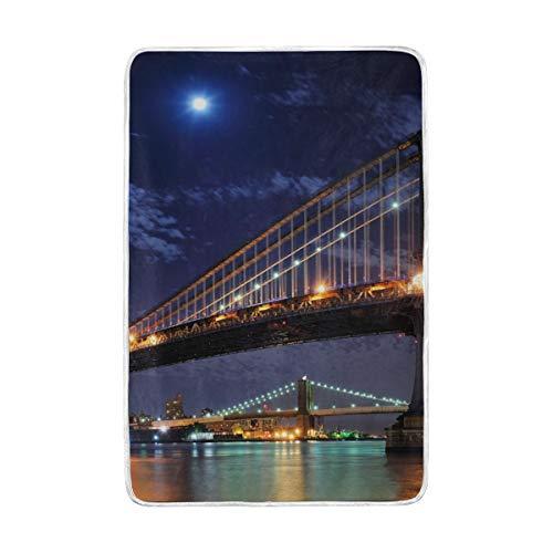 DOSHINE Doppel-Decke, American Brooklyn Bridge Manhattan weich, leicht, wärmend, 152,4 x 228,6 cm, für Sofa, Bett, Stuhl, Büro