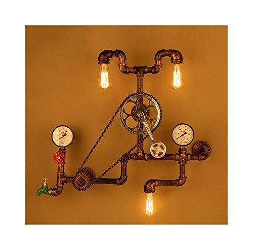 YSJ LTD Loft Vintage Retro Industriële wiellager fiets wandlamp waterleiding wandlamp