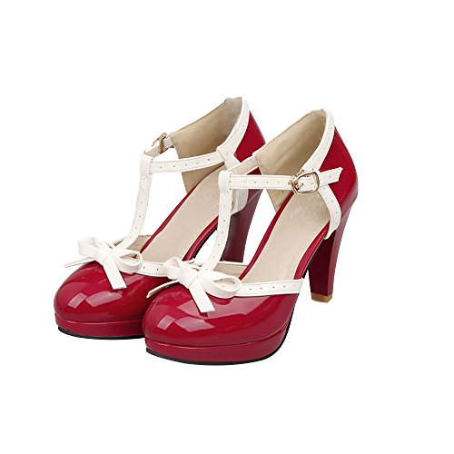 Fashion Women T-Strap High Heels Bow Platform Round Toe Pumps Patent Leather Summer Lolita Sweet Shoes(red,7.5)