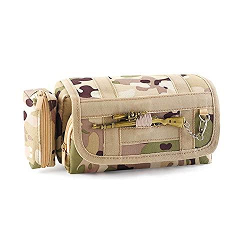Estuche de papelería de lona de camuflaje, Estuche para lápices multicapa, Cremallera de soporte, Alta capacidad, Creativo multifuncional, Bolsa de papelería de alta gama LQ&XL/A