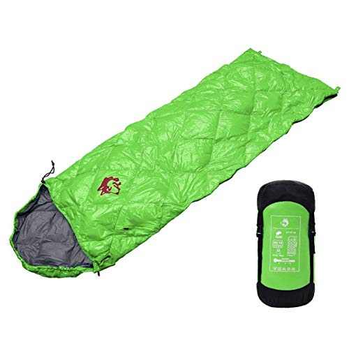 hasky 軽量コンパクト ダウン寝袋 封筒型 シュラフ 羽毛 限界使用温度0℃ 車中泊 防災 ブランケット (グリーン)