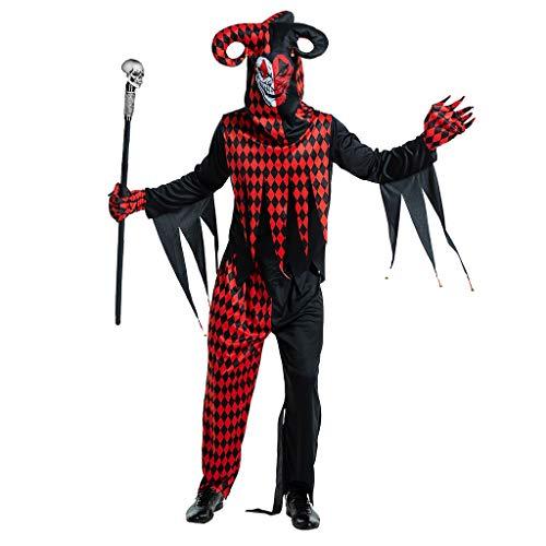 EraSpooky Herren Spassmacher Kasper Clown Kostüm Faschingskostüme Cosplay Halloween Party Karneval Fastnacht Kleid für Erwachsene