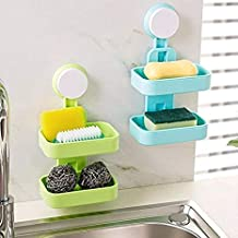 QERINKLE® Plastic Double Layer Sucker Wall Mounted Soap Box with Flipped Idea Suction Cup Holder for Bathroom and Wash Basin, Soap Box with Suction Cup Holder Rack for Bathroom