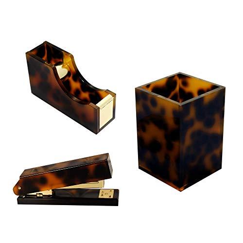 Multibey Amber Gold Set Desk Stapler Tape Dispenser, Pen Holder Pencil Cup, 24/6 Staples, Office Desk Accessories Organizer Decor