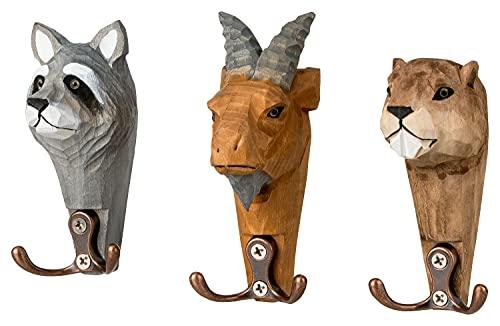 Ganchos de pared de cabezas de animales de la Familia Safari - juego de 3 piezas de madera con 2 garras cada uno, de cabra, marmota y mapache, 11 x 6 cm
