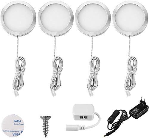 Lightess 4Pezzi Lampada per Armadio LED per Armadio Lampada da Lavello per Cucina Luce Notturna per Vetrina Guardaroba Camera da Letto
