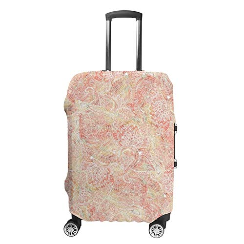 Travel Luggage Cover Boho Earth Watercolor Girly Floral Paisley Suitcase Protector Fits 19-21in Luggage Anti-scratch Baggage Protective Cover