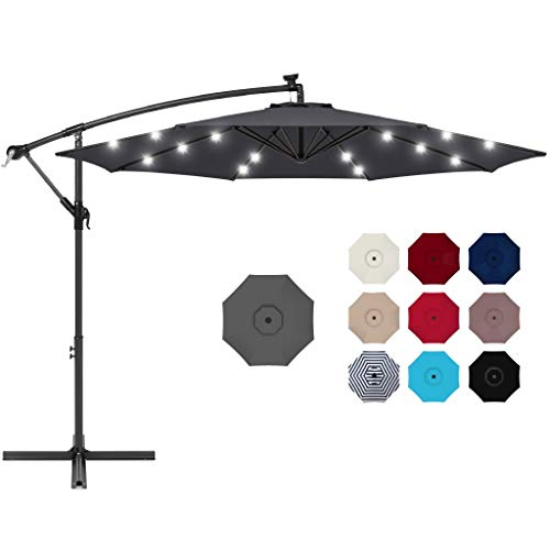 Best Choice Products 10ft Solar LED Offset Hanging Market Patio Umbrella for Backyard, Poolside, Lawn and Garden w/Easy Tilt Adjustment, Polyester Shade, 8 Ribs - Gray