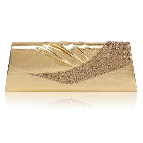 Damara® Damen Eleganz Schräg Kristalle Verzierte Handtasche,Hellgold
