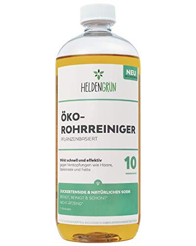 Heldengrün® Öko Rohrreiniger [BIO POWER-FORMEL] - 100% pflanzenbasiert & schonend - Abflussreiniger gegen Verstopfungen & Haare - Nachhaltige Produkte: Effektive Rohrfrei Formel - Abflussfrei 1l