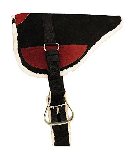 Reitsport Amesbichler AMKA Leder Bareback Pad Prosoft Reitkissen mit Metall Steigbügel und Gurt komplettes Set schwarz/braun, Größe: Warmblut