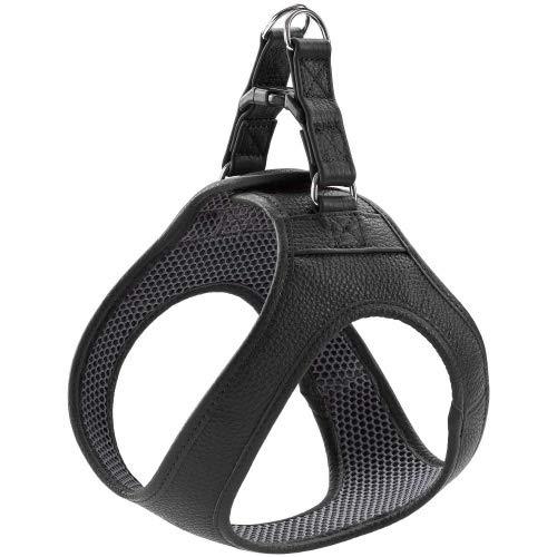 HUNTER Hilo Hundegeschirr mit Leder, für kleine Hunde Farbe schwarz, Größe S