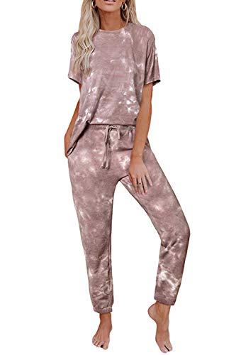 Pink Queen Women Tie Dye 2 Piece Loungewear Set Tracksuits Casual Short Sleeve Tshirt Jogger Pants Sweatsuits Coffee 2XL