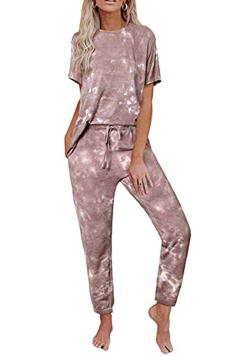 Fixmatti Women Tie Dye Short Sleeve Tops and Long Pants Pajamas Set Nightwear 2XL