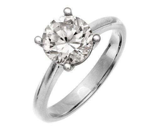 Naava Anello da Donna in Oro Bianco con Diamante 2ct IJ/P3, Taglio Rotondo, Misura 10