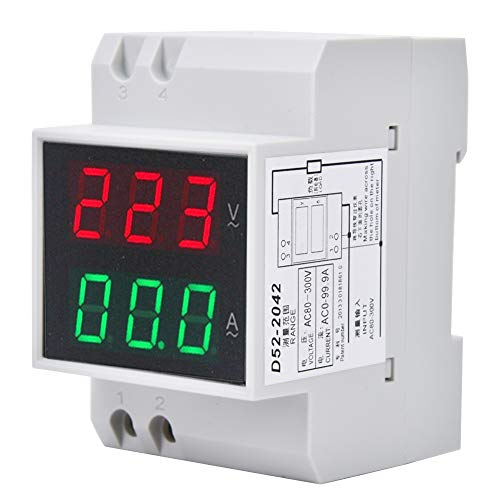 OhhGo Medidor de amperio de voltaje digital DIN-RAIL alta precisión voltímetro de doble pantalla amperímetro AC80-300V