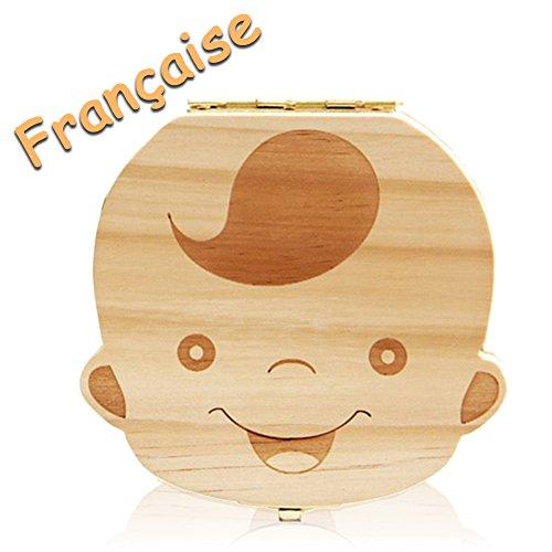 Leisial - Scatola dentini da latte per neonati denti di latte regali scatola in legno per bambini ragazzo e ragazza versione inglese