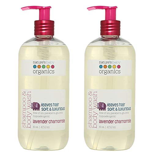 Nature's Baby Organics Shampoo & Body Wash - Soft and Gentle for Baby's Sensitive Skin - Highly Moisturizing - For Newborns, Kids & Teens - Paraben & Sulfate Free - Lavender Chamomile 16oz (Pack of 2)