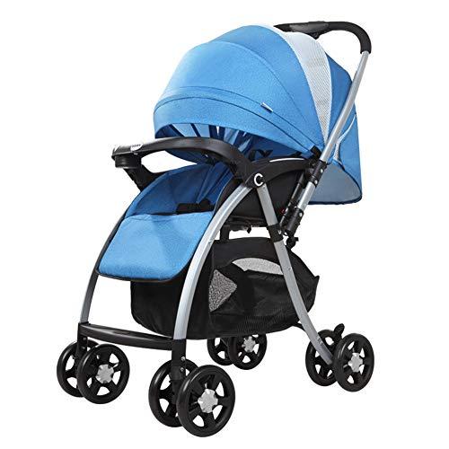 DYFAR Baby Cart Kann Sitzen Liegend Leicht Zusammenklappbar Vier Runden Neugeborenen Kinderwagen Baby Trolley Sicherheitssystem Und Multi-Position Reclining Seat, Blue