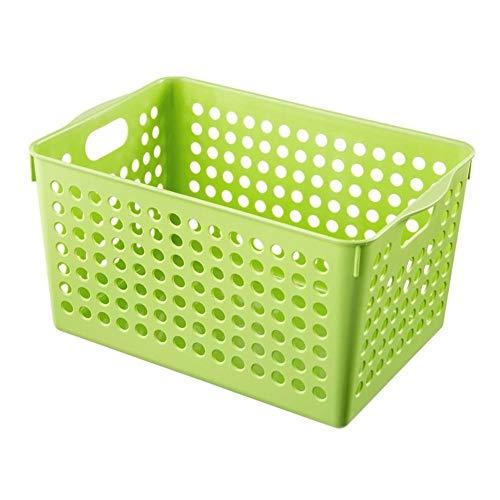 Hollow rechthoek Storage Basket Portable plastic speelgoed Opbergmanden Keuken Snacks plantaardige mand badkamer opberg Containers (Color : Dark Khaki)