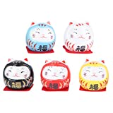 PRETYZOOM - 5 piezas porcelana mini gato japonés Ochoko Daruma cerámica fortuna suerte gato...