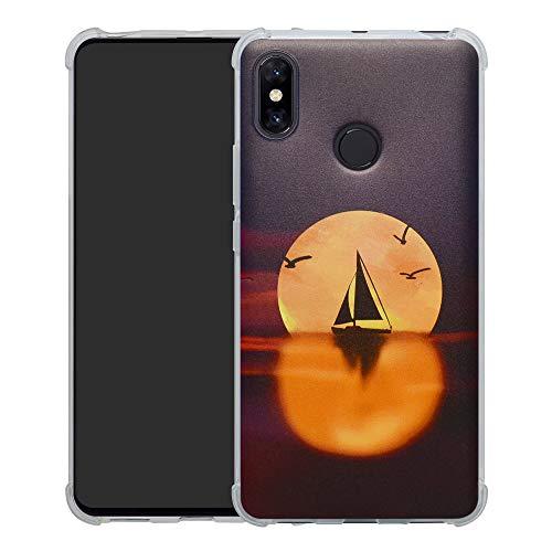 HHDY Xiaomi Mi MAX 3 Funda, Pintura Ultrafina Suave TPU Silicona Diseño de Bumper Cojín de Aire Protección Cover para Xiaomi Mi MAX 3,Sailboats & Moon