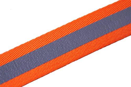 TEXTIMO Reflexband/Sicherheitsband mit Reflexstreifen NEON - ORANGE (25 mm/nähbar) Menge FREI WÄHLBAR (1 Meter)