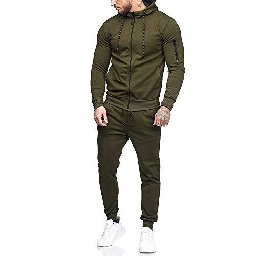 Sumen Men Zipper Patchwork Hoodie Pants Sets Tracksuit Jogging Sweatsuit Activewear Army Green