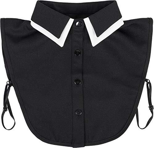 styleBREAKER Damen Blusenkragen Einsatz mit farblich abgesetztem Kragen und Knopfleiste, Kragen für Blusen und Pullover 08020008, Farbe:Schwarz-Weiß