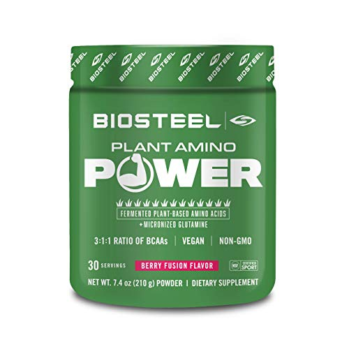 BioSteel Plant Amino Power BCAA+ - Sugar Free Branched Chain Amino Acid Powder, Preservative Free, Supports Muscle Repair, Berry Fusion 30 Servings