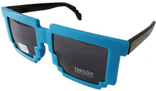 Hugh Banner HB Pixelated Wayfarers Designer Inspired - Gafas de Sol (policarbonatadas, Resistentes a los roturas, protección UV 100%), Color Azul y Negro