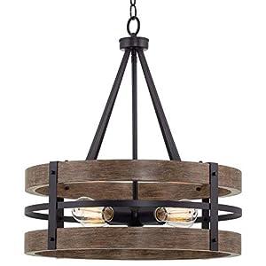 "Kira Home Maybrook 23"" 4-Light Modern Farmhouse Chandelier, Black + Reclaimed Oak Style Wood Finish"