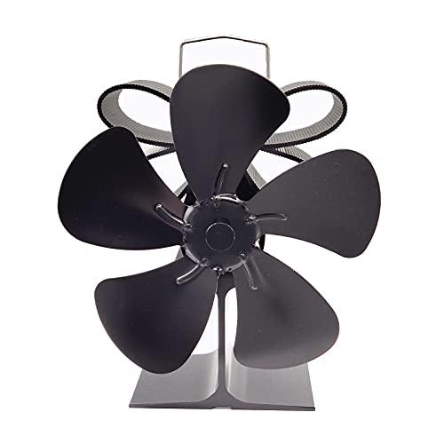 L1YAFYA Chimenea Negro 5 Cuchillas Chimenea Calefacción termodinámica Estufa de la Estufa de la Estufa de la Chimenea Ventilador de la Estufa térmica para la Madera/Quemador de Madera/Chimenea